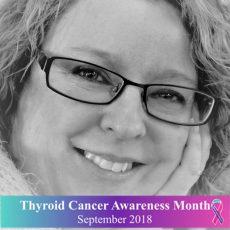 Schildklierkanker awareness. Een gezicht met grenzen